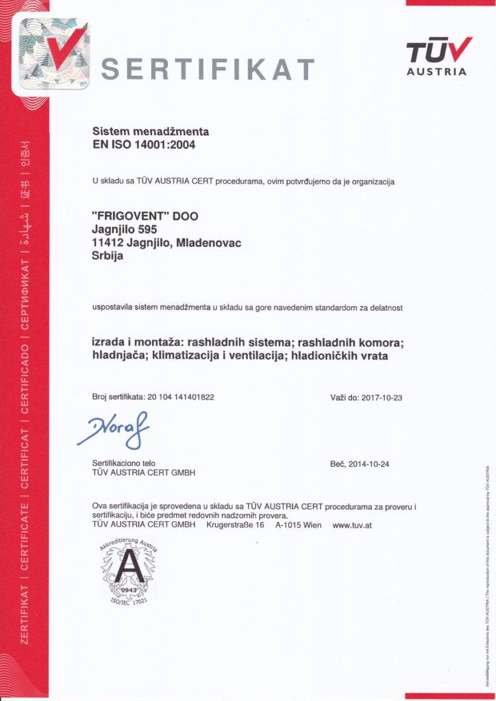 Frigovent - TUV EN ISO 14001:2004