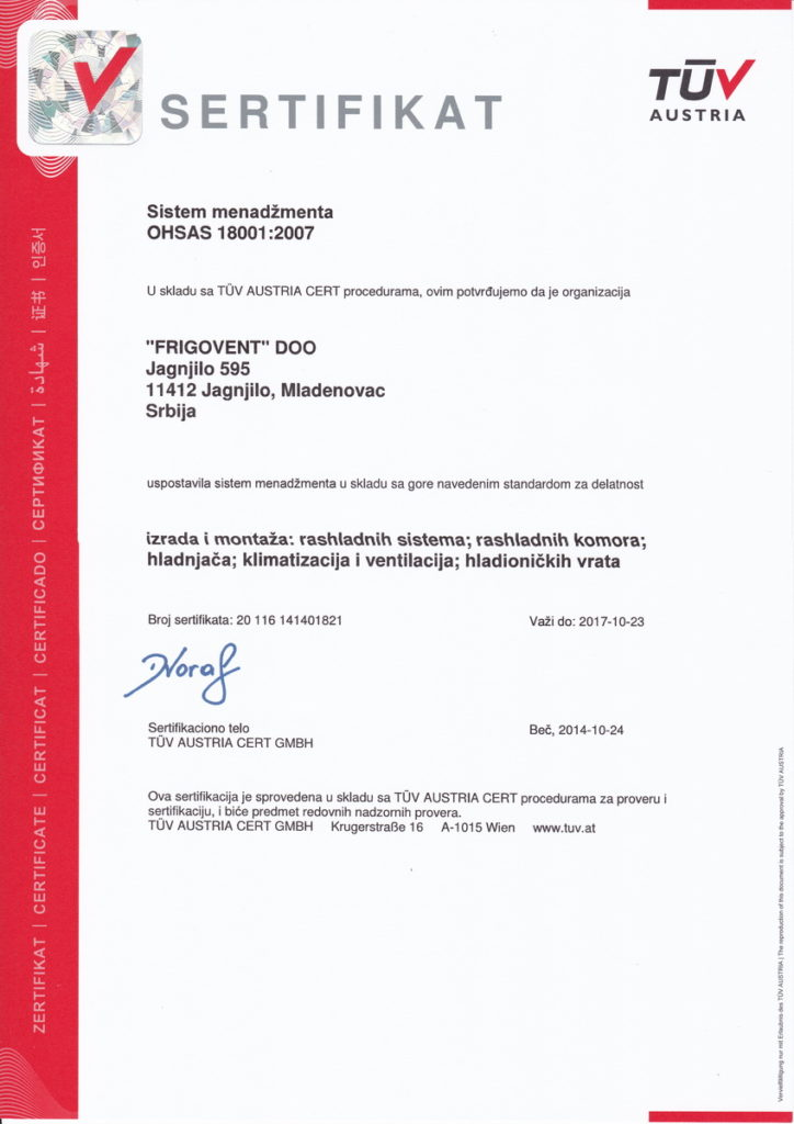 Frigovent - TUV OHSAS 18001:2007