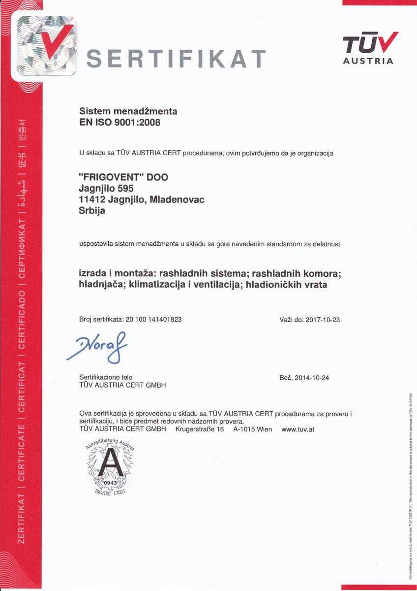 Frigovent - TUV EN ISO 9001:2008